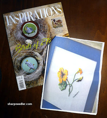 Catherine Laurencon Capucines (Inspirations): Embroidered nasturtiums in issue 93