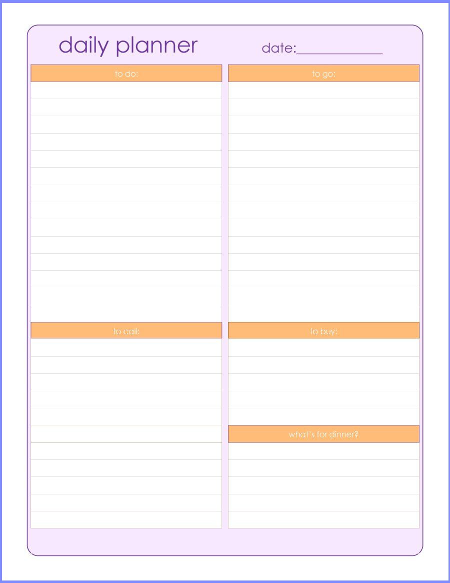 Free Daily Planner Template | Resume Letter Business
