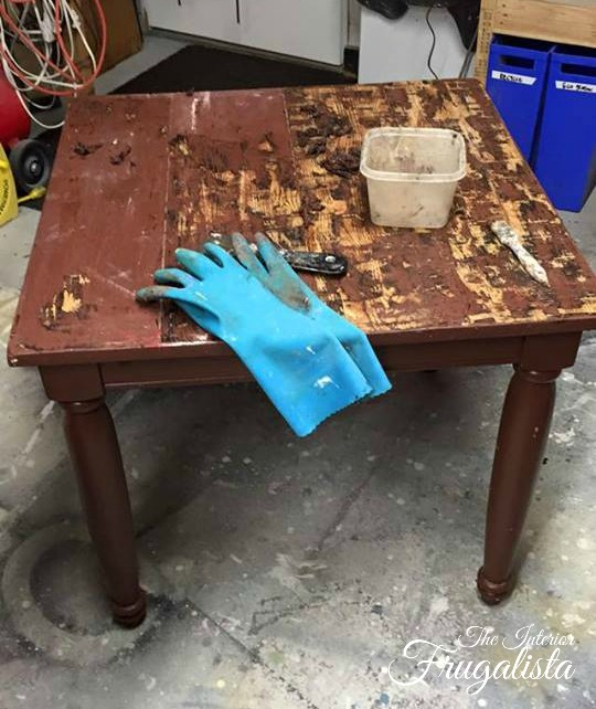 Stripping paint on farmhouse side table