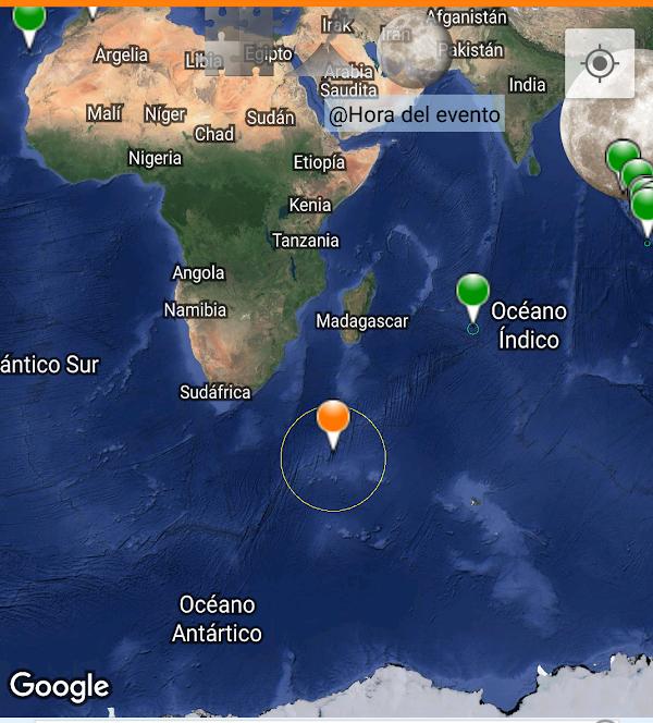 Sismo fuerte en la isla edward. ( oceano indico )