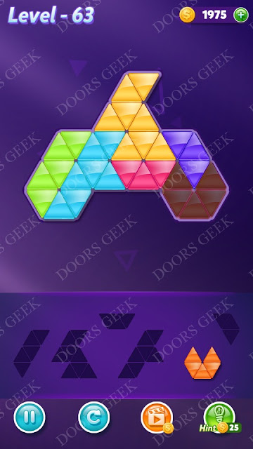 Block! Triangle Puzzle 6 Mania Level 63 Solution, Cheats, Walkthrough for Android, iPhone, iPad and iPod
