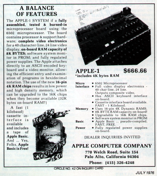 Apple-1 advertising July 1976