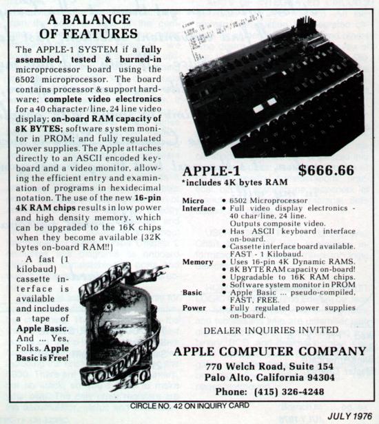 Apple-1 advertising July 1976