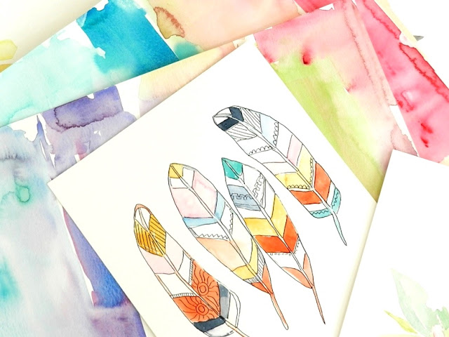 Original Watercolor Feathers by Elise Engh