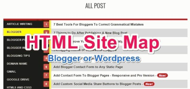 html sitemap page kaise banaye blogger or wordpress me gyanme