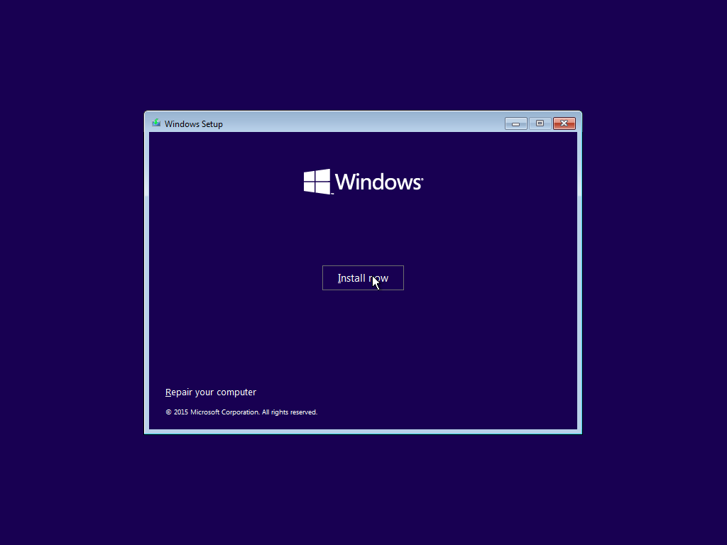 Gambar proses Install windows10