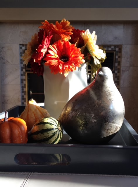 autumn vignette tray mercury bird fall flowers