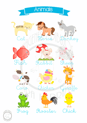Imagen de animales en Inglés