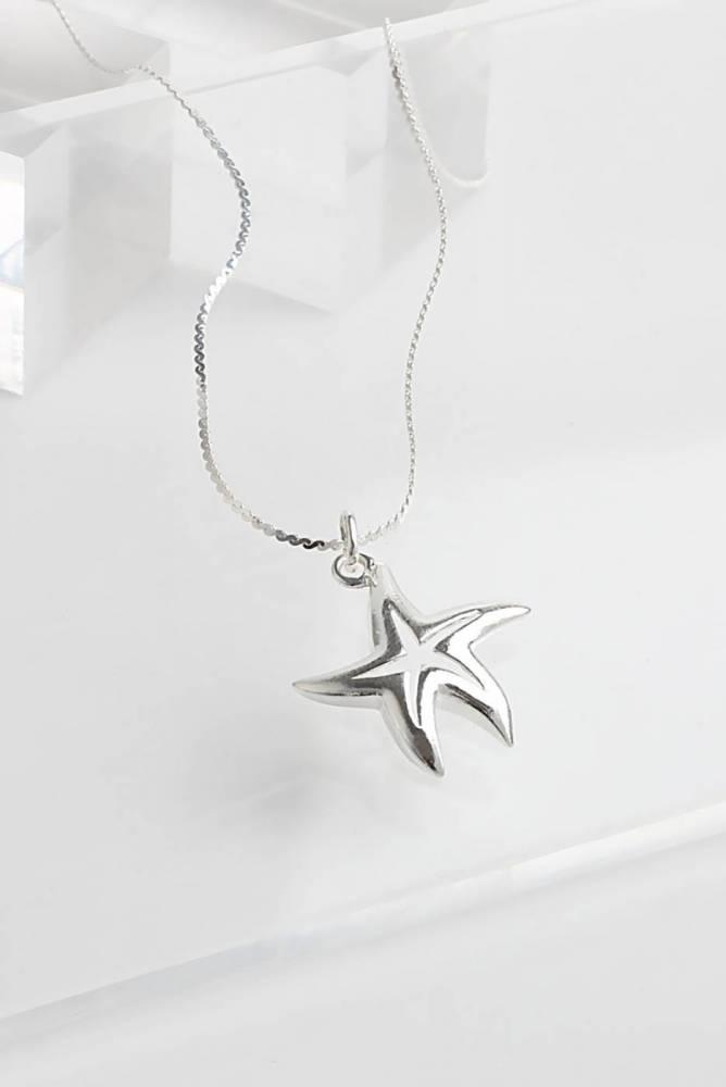 Colar de prata com pingente estrela do mar