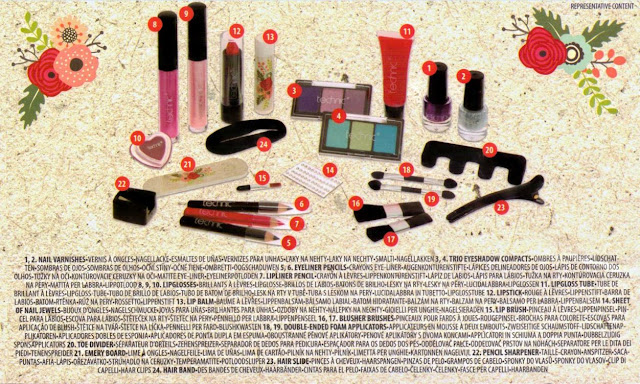 Contents sticker from the reverse of the Technic Cosmetic Advent Calendar packaging