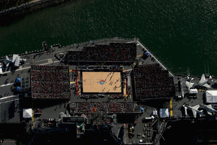 Basketball Game Played On Aircraft Carrier