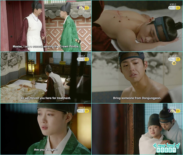 crown prince get the treatment after he injured by the sward and when ra on come to meet him he back hugged her  - Love In The Moonlight - Episode 12 Review