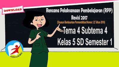 RPP Tematik Kelas 5 SD Tema 4 Subtema 4 Kurikulum 2013 Revisi 2017