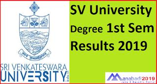 Manabadi SVU Degree 1st Sem Results 2019