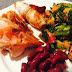 Grillezett tenger gyümölcsei vörös babbal és salátával