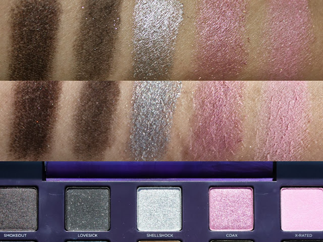 Smokeout, Lovesick, Shellshock, Coax, X-rated swatches