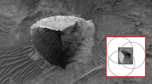 Pirámide simétrica de tres lados encontrada en Marte