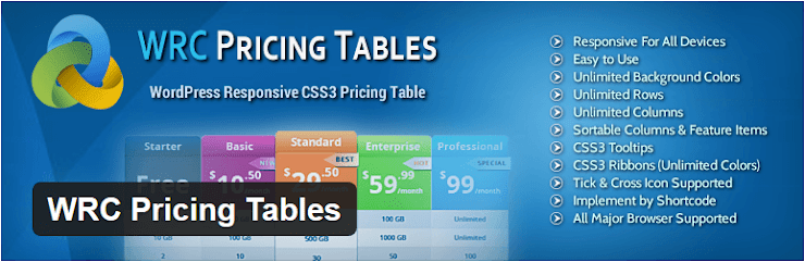 WRC Pricing Tables plugin for WordPress