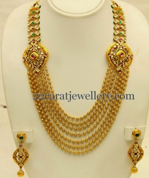 kundan motifs gold beads haram jewellery designs