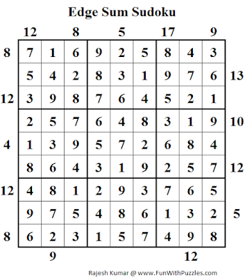 Edge Sum Sudoku (Daily Sudoku League #119) Solution