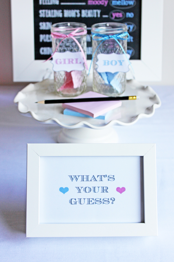 Boy or girl guessing station at a gender-reveal party