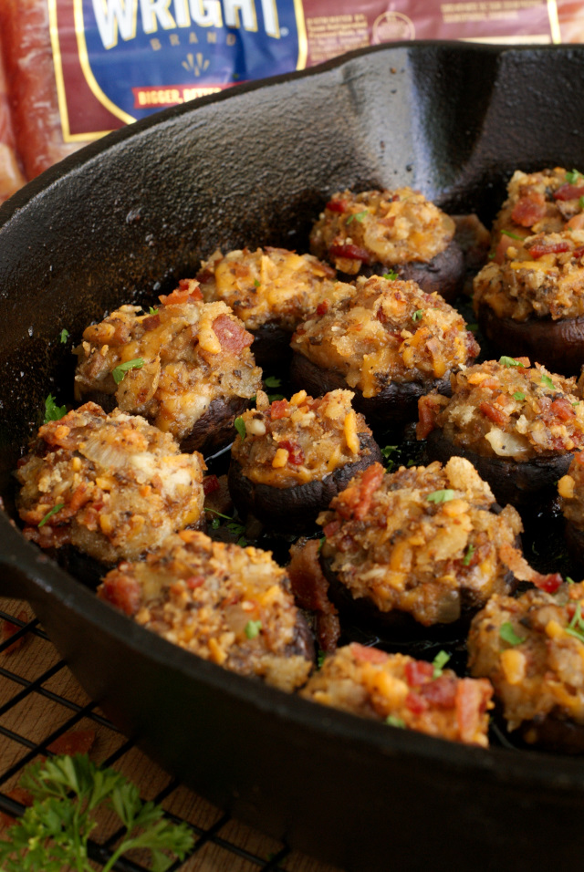 Bacon and Cheddar Stuffed Mushrooms are made by stuffing earthy cremini mushrooms with loads of thick-sliced Wright® Brand Bacon and sharp cheddar cheese, making them an irresistible appetizer for any occasion!  #VoteWrightBrandBacon #Sponsored @WrightBacon