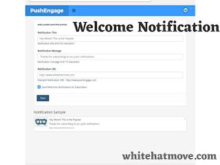 PushEngage Welcome Notification