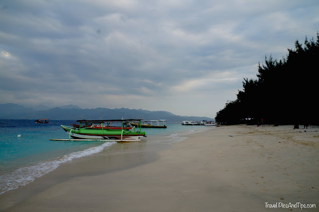 Sea with boat at Gili Trawangan Indonesia