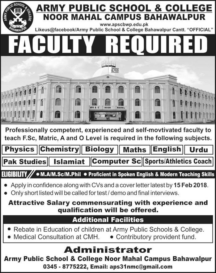 New Vacancies in Army Public School and College Noor Mahal Campus, Latest Jobs 2018