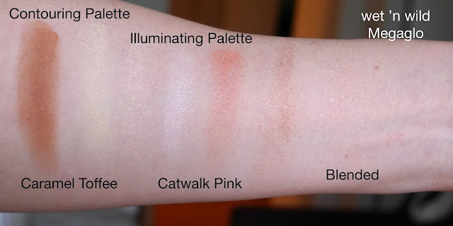 wet n wild Megaglo Contouring and Illuminating Palettes caramel toffee catwalk pink swatch