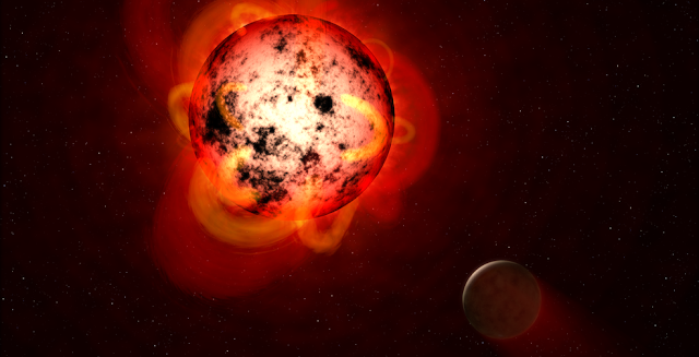 This illustration shows a red dwarf star orbited by a hypothetical exoplanet. Credits: NASA/ESA/G. Bacon (STScI)