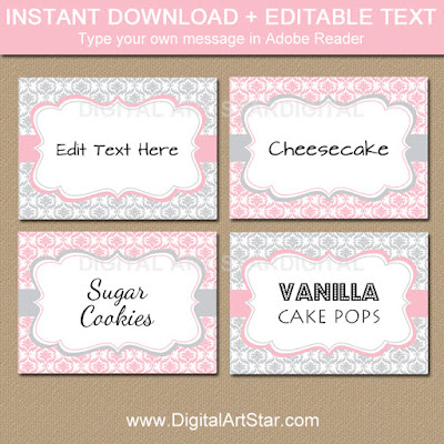 editable pink and gray food labels for girl baby shower, bridal shower, wedding