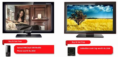 Value for Money Offer : Buy Videocon IVA32HM 81 cm LCD Welcome Series TV (32″, USB Port, HDMI) for Rs.16990 & Get Sansui H48 Dual SIM Mobile Phone worth Rs.2650 for FREE