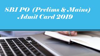 SBI PO Hall ticket 2019