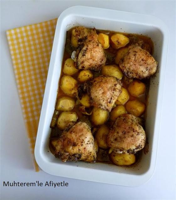 fırında patates tavuk yemeği resmi