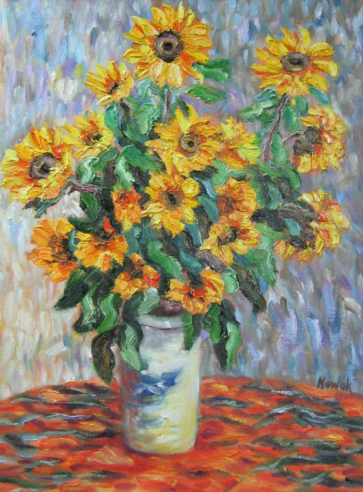Richard Nowak Fine Art Van Gogh S Vase Of Flowers Oil