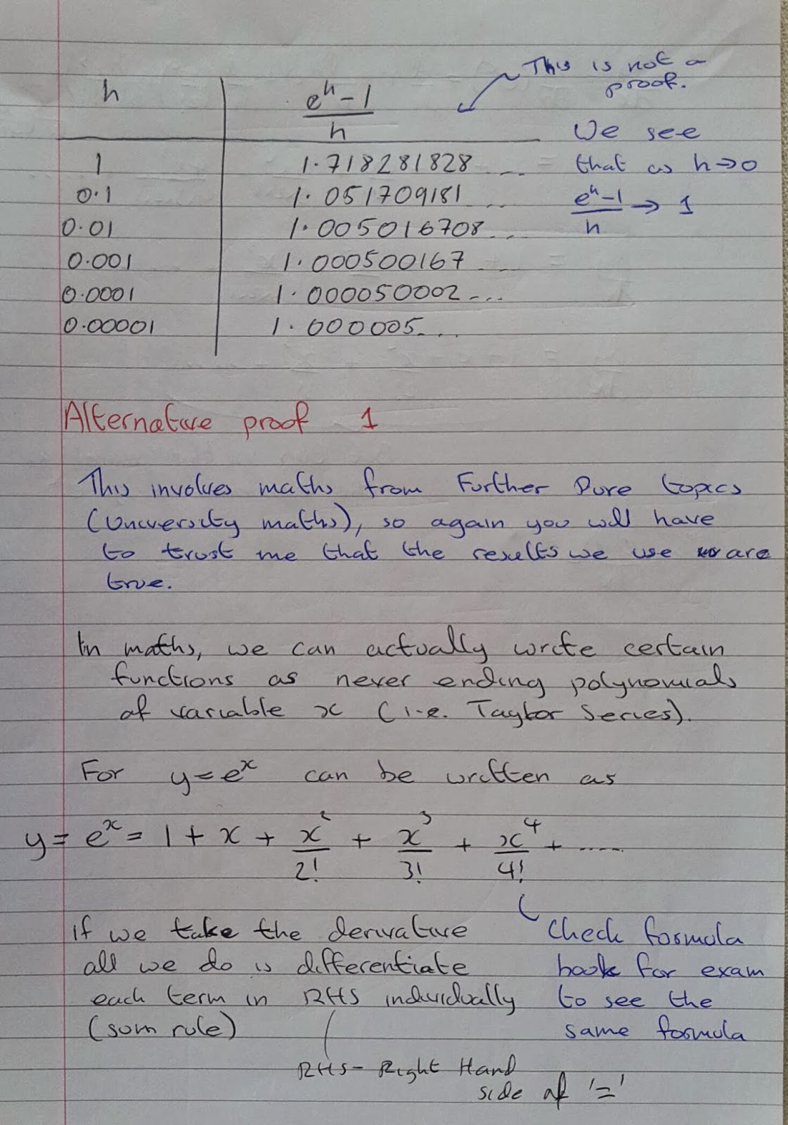 A Level Maths Notes: A2 Differentiation: Exponential Function