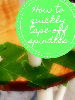 How to quickly tape off spindles prior to painting.