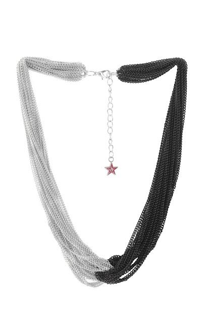 9349 Gunmetal toned and black chain necklace,has interwined multiple chainsRs.798-min