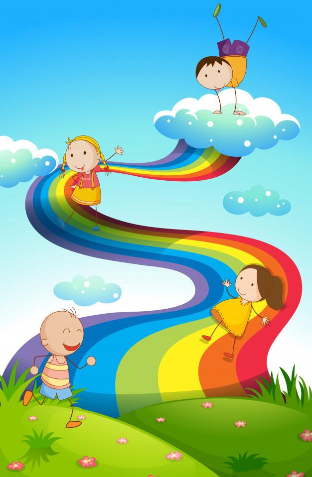Happy children on rainbow Free Vector