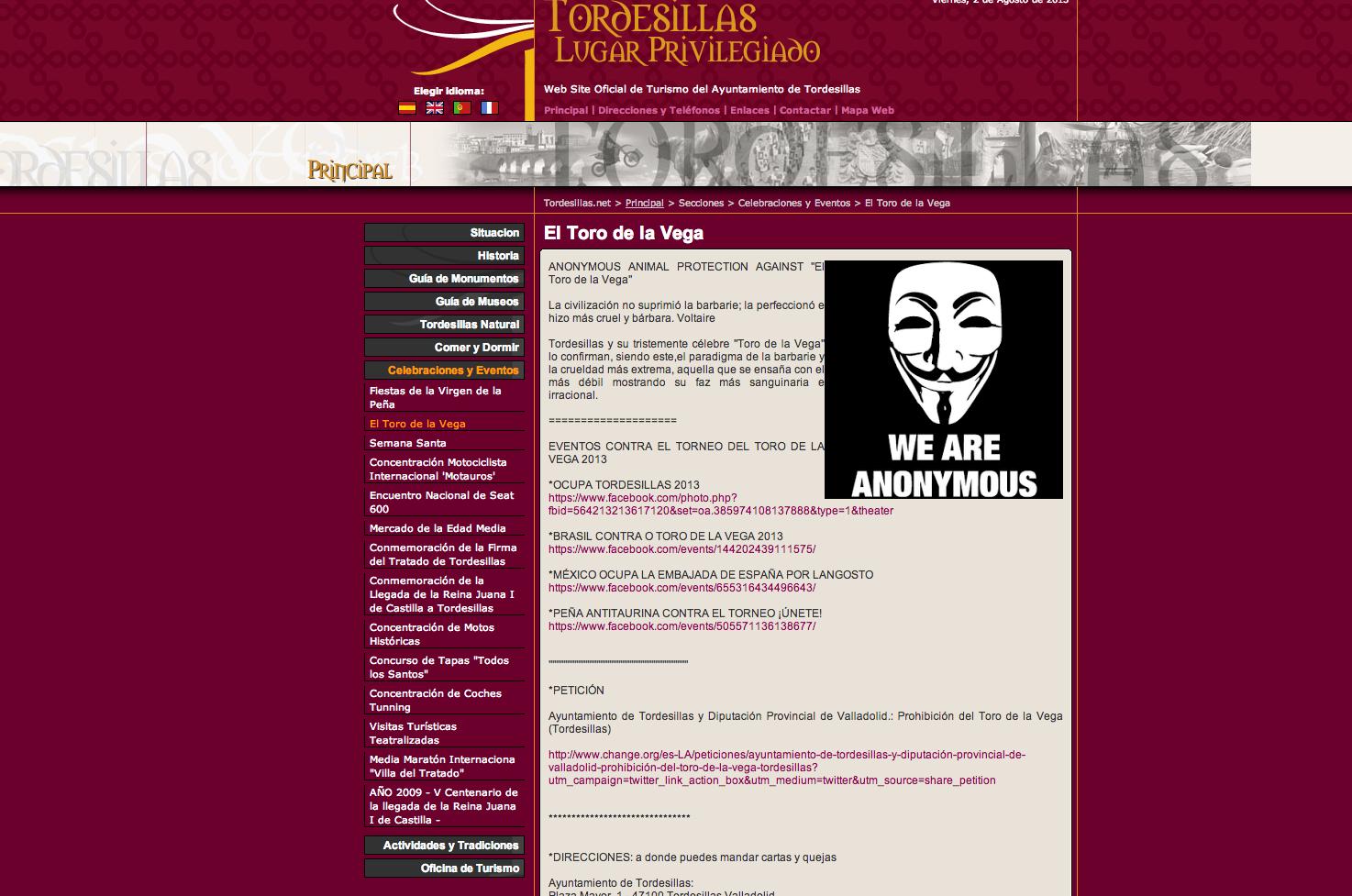Lejos del mar: Anonymous hackea la web de Turismo de ...