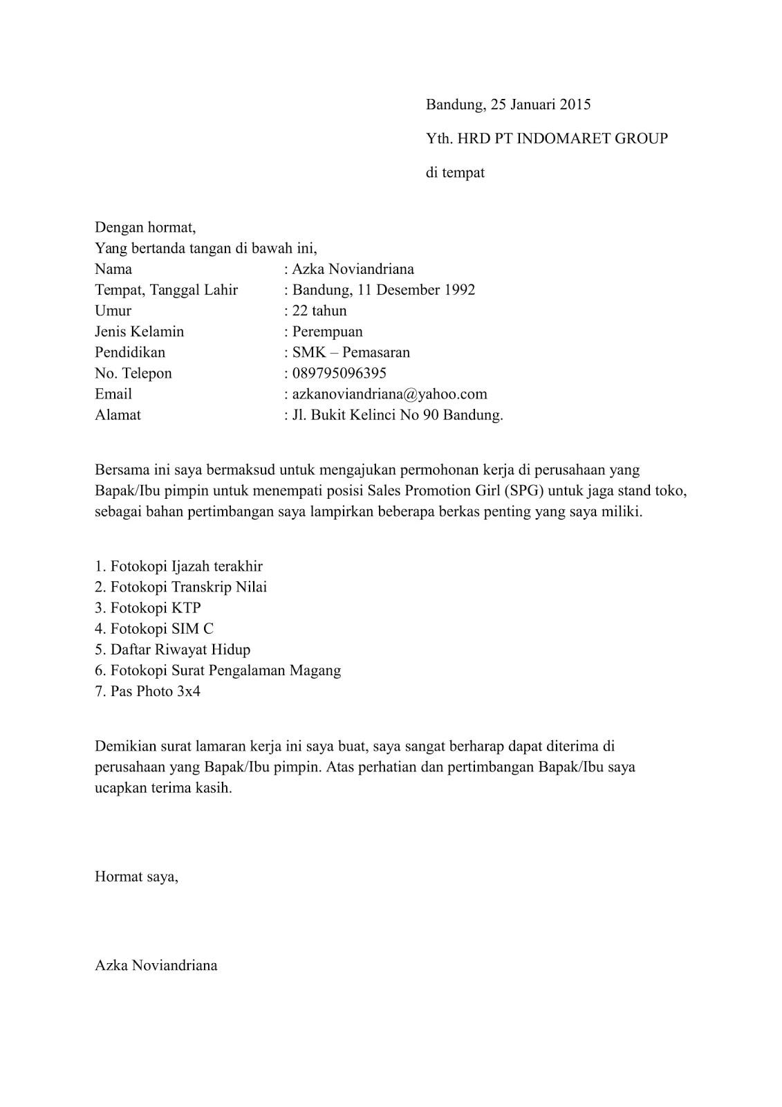 Surat Lamaran Kerja Bahasa Inggris Pdf