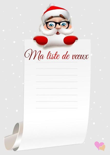 Lettre au père noël avec liste de vœux