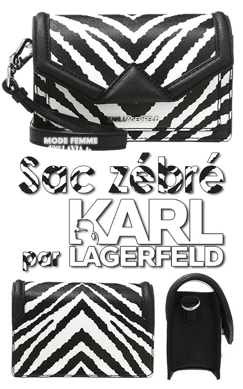 Sac à main en cuir zébré noir et blanc KARL LAGERFELD