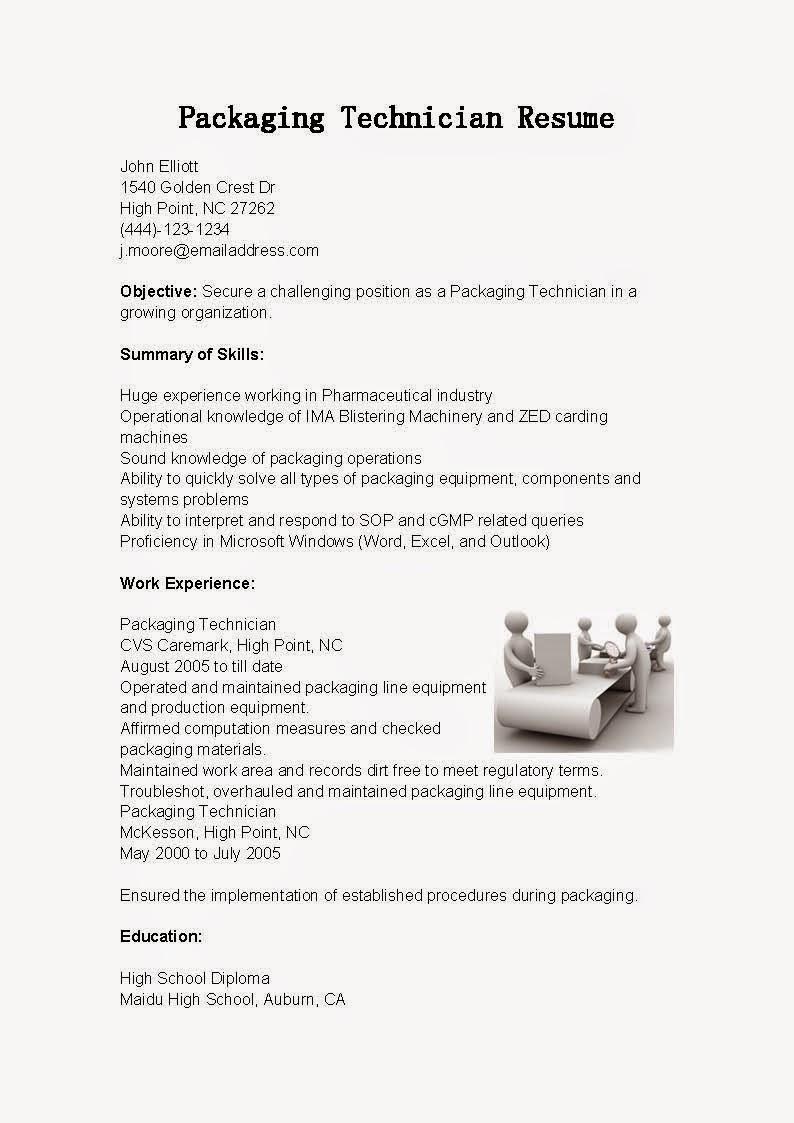 Resume Samples Packaging Technician Resume Sample