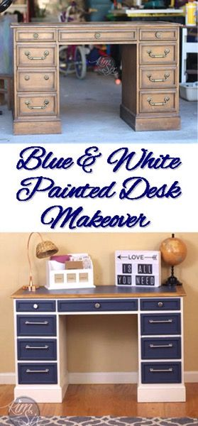 blue and white desk makeover