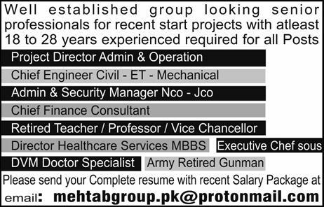 Jobs in Mehtab Group for various posts Apply via Email