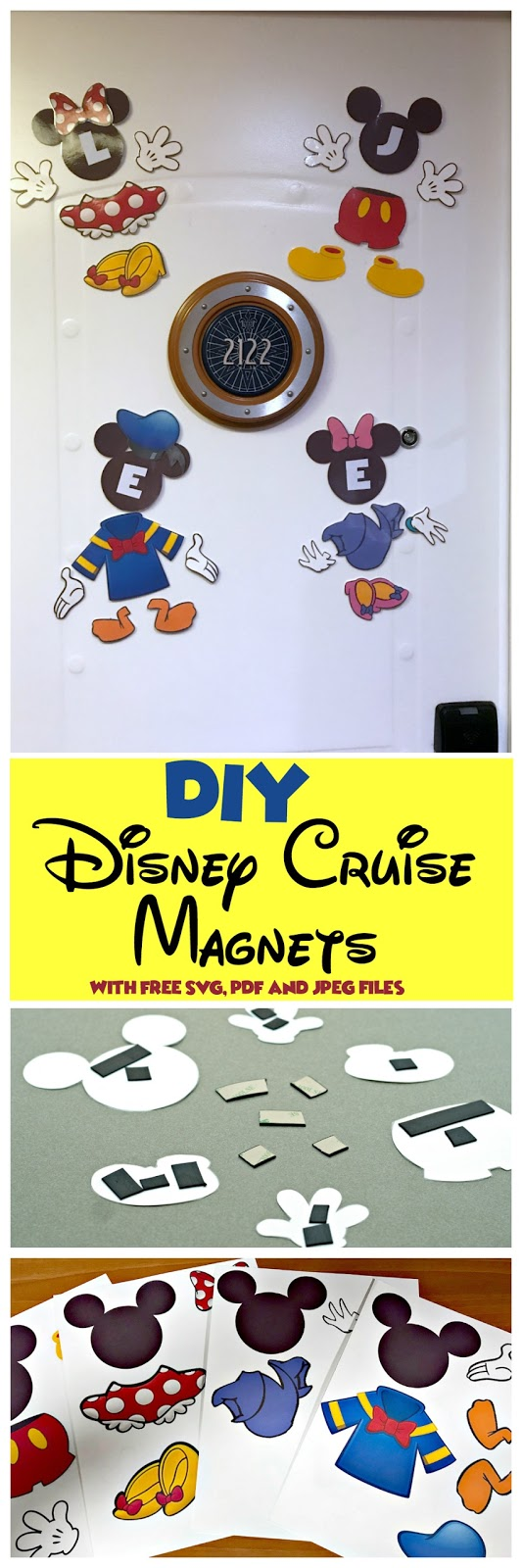 How to Make Disney Cruise Ship Magnets on a Budget, How to Make Disney Cruise Magnets, Easy Disney Cruise magnets, DIY Disney Cruise Magnets, Printable SVG Disney Cruise Magnets Free, Free Printable Disney Cruise Magnets, Mickey Mouse parts, Minnie Mouse parts, Daisy Duck parts, Donald parts