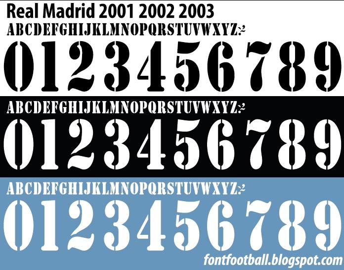 buy online c63e4 fe16e FONT FOOTBALL: Font Vector Real Madrid 2001 - 2003 Kit