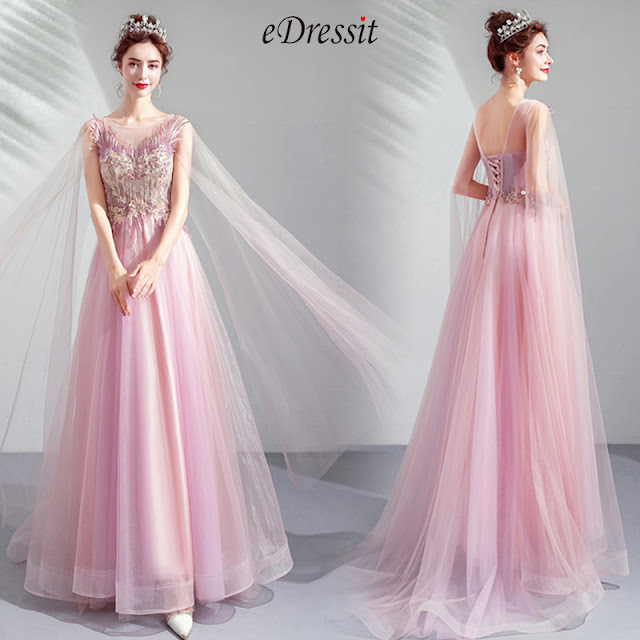 Elegant Long Tulle Bride Evening Prom Dress